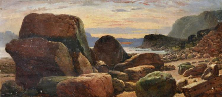 19th Century English School. A Rocky Beach Scene, with a Wooden Barrel and Driftwood, Oil on Canvas, Unframed, 8.75