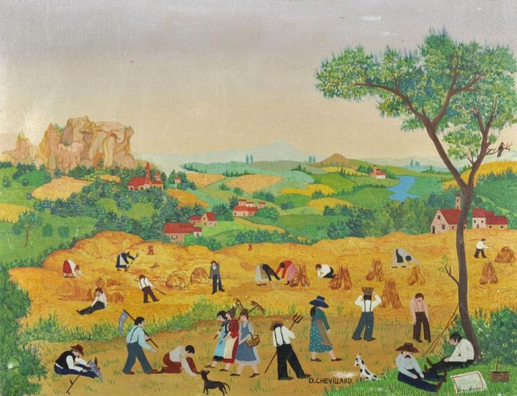 D...Chevillard (20th Century) French. 'Haymaking', Oil on Canvas, Signed, 10.5