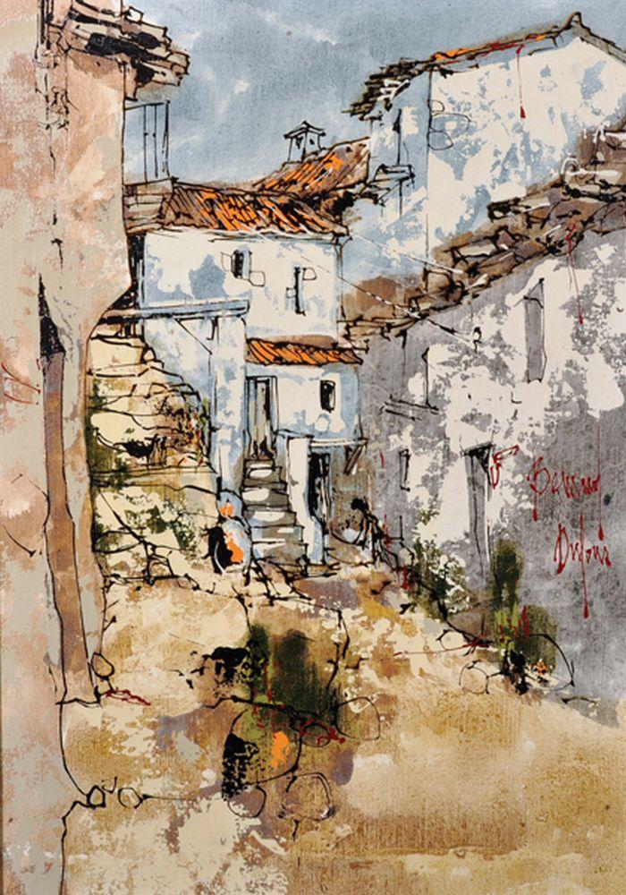 Bernard Dufour (1922-2016) French. A Majorcan Street Scene, Oil on Canvas, Signed, 18