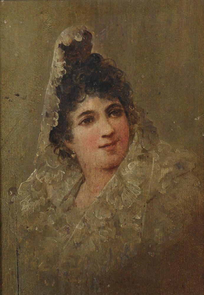 19th Century Spanish School. Portrait of a Lady wearing a Mantilla, Oil on Panel, 7