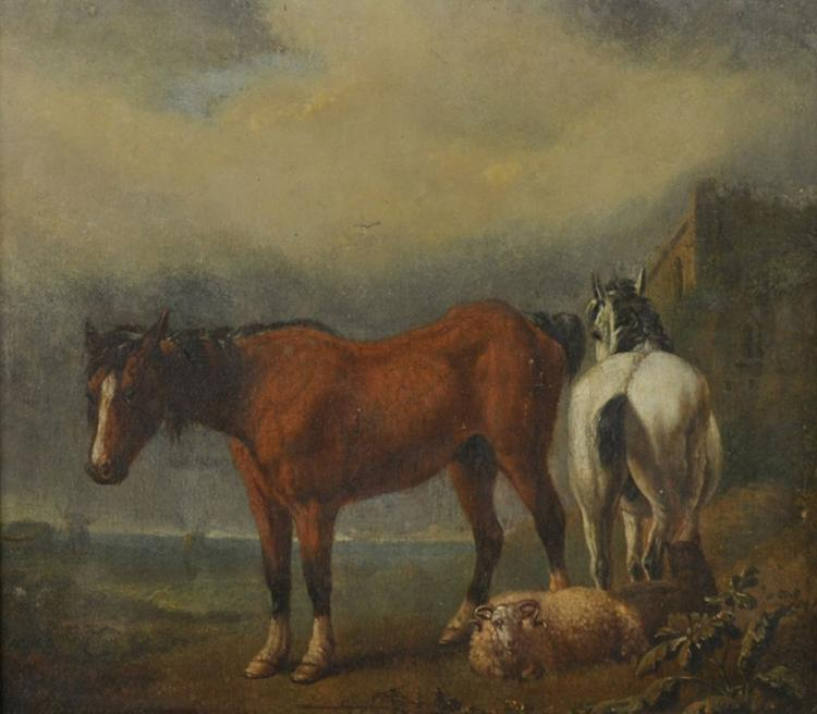 19th Century Dutch School. A Landscape with Two Horses and a Ram, Oil on Panel, 7.5