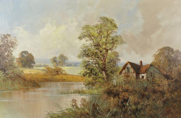 Frank E Jamieson (1895-1950) British. A River Landscape with a Cottage, Oil on Canvas, Signed, 20