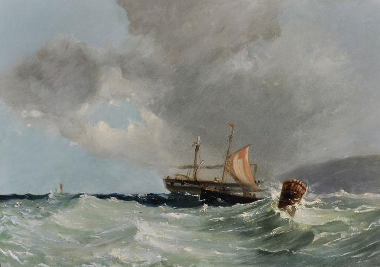 Circle of John Moore (1824-1908) British. A Seascape with Boats in Choppy Water near a Buoy, Oil on Board, 14