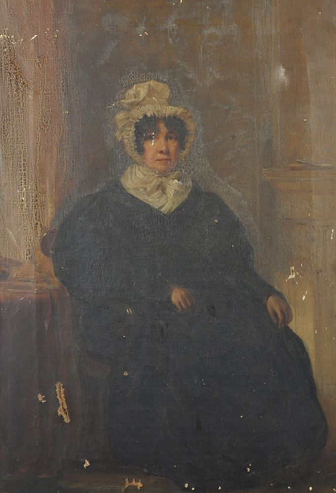19th Century English School. A Lady Seated in an Interior, wearing a black Dress and white Bonnet, Oil on Canvas, Unframed, 23