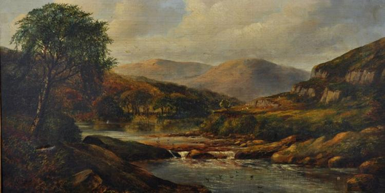 19th Century English School. A Highland River Landscape, Oil on Canvas, 12