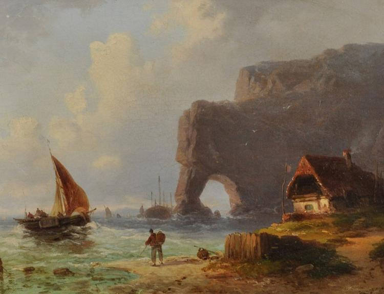 Circle of Charles Euphrasie Kuwasseg (1838-1904) French. Boats off a Rocky Coast with a Figure on a Beach, Oil on Canvas, 9.5