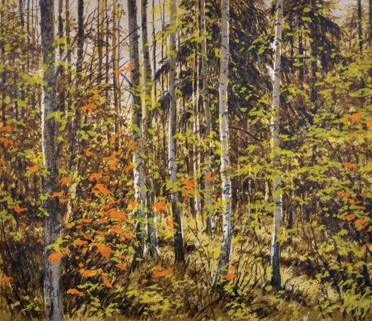 20th Century Russian School. Autumn Leaves in a Woodland Forest, Screen Print, Signed with Symbol in Pencil, 12.5