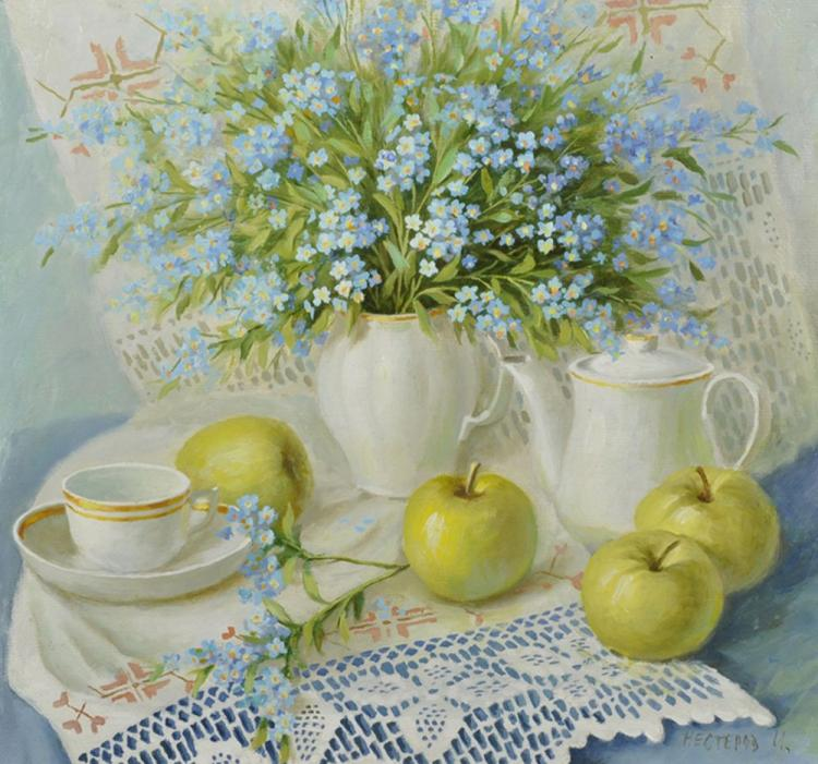Igor Nesterov (1961- ) Russian. Still Life with Forget me Nots in a White Vase. and Apples and a Tea service on a Table, Oil on Canvas, Signed in Cyrillic, and Signed and Inscribed in Cyrillic on reverse, 13