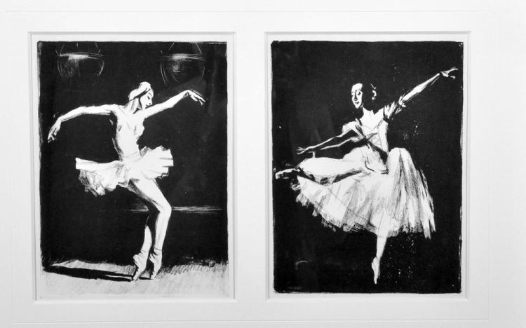 David Borisovitch Borovsky (1926-2004) Russian. Ballet Dancer, Lithograph, 9.25