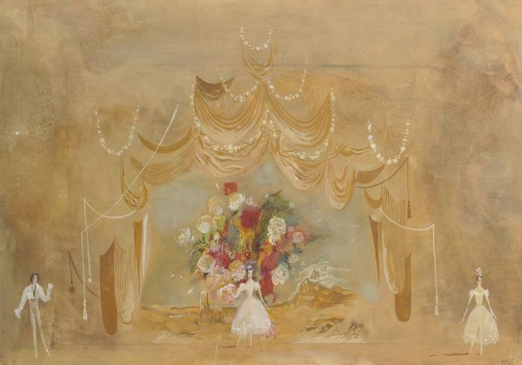 Yuri Semenovich Ustinov (1954 ) Russian. Stage Design for 'Festival of the Flowers' at Sverdlovsk Theatre of Opera and Ballet, Mixed Media, Signed with Initials and Dated '85, and Inscribed in Cyrillic on a label on reverse, 19