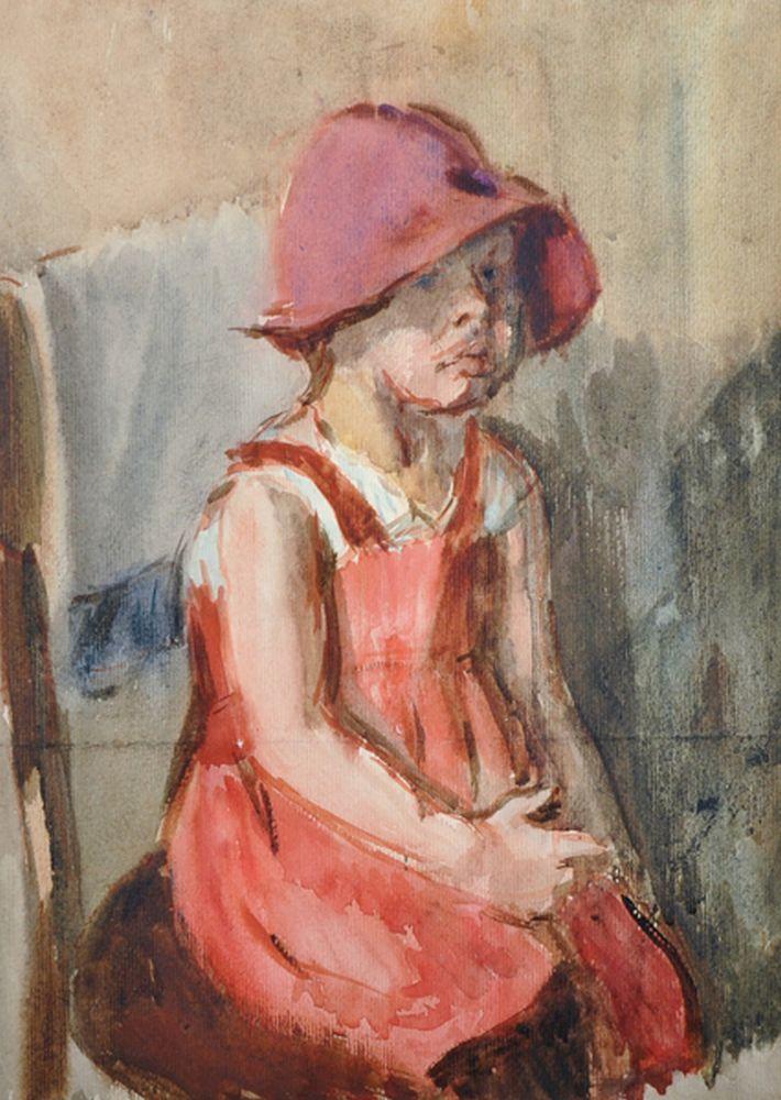 Grigorij G... Filippovski (1909-1987) Russian. 'Girl in a Red Hat', Watercolour, 16