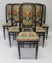 A SET OF SIX THONET CHAIRS, with ebonised Bentwood frames, the backs and seats upholstered with an Arts & Crafts style printed fabric. <br>Note: Bought from Liberty in 1985 for £675.
