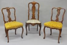 A PAIR OF 18TH CENTURY DUTCH ELM SIDE CHAIRS, with floral marquetry inlaid decoration, overstuffed seats on cabriole legs; together with a similar chair (3).