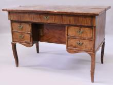A LOUIS XV KINGWOOD PARQUETRY KNEEHOLE DESK, the rectangular bi-fold top opening to reveal three small drawers, a fall flap over a small cupboard and four drawers, supported on square legs. <br>3ft 6ins wide x 2ft 6ins high x 2ft 1ins deep. <br>Provenance: Bought from Lennox Money Antiques, London in 1978.