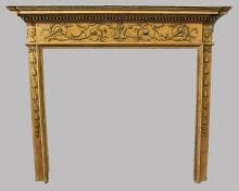 AN ADAM REVIVAL PINE FIRE SURROUND, LATE 19TH CENTURY-EARLY 20TH CENTURY, with floral, egg and dart and dentil moulded mantle, above a frieze applied with urns and swags, the jambs with carved and applied harebell decoration. <br>5ft 3ins wide x 4ft 6ins high x 7ins deep.