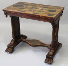 AN UNUSUAL REGENCY ROSEWOOD TABLE, the rectangular top and platform base inset with polished ammonites and other fossils, with four turned and carved legs and rectangular column supports on block bases with carved feet and castors. <br>2ft 8ins long x 2ft 5ins high x 1ft 7ins wide.