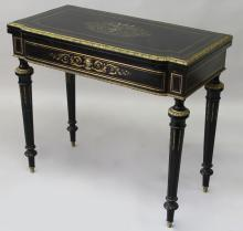 A 19TH CENTURY BRASS, ORMOLU AND EBONISED CARD TABLE, the fold-over top with cut brass inlay depicting an urn under a canopy with floral swags and birds, with similarly inlaid frieze, supported on turned, fluted tapering legs. <br>2ft 11ins wide x 1ft 6ins deep x 2ft 6ins high.