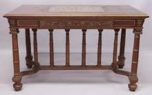 A SUPERB LATE 19TH CENTURY FRENCH WALNUT, CUT BRASS AND MARQUETRY RECTANGULAR CENTRE TABLE, the top with a central cut brass panel inlaid with urns, swags and masks, above a similarly decorated frieze with a single drawer, supported on turned and fluted legs, united by a stretcher with baluster columns. <br>4ft 3ins wide x 2ft 5ins deep x 2ft 7ins high.