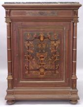 A SUPERB LATE 19TH CENTURY FRENCH WALNUT, CUT BRASS AND MARQUETRY PIER CABINET, en-suite to previous lot, with a marble top above a single door flanked by column supports on bun feet. <br>3ft 9ins high x 2ft 9ins wide x 1ft 6ins deep.