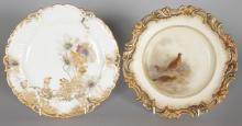 A DOULTON CABINET PLATE, the centre painted with a scene of grouse on a moor, indistinctly signed; together with another Doulton cabinet plate with floral decoration. <br>Each 9ins diameter.