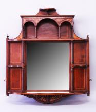 A GOOD VICTORIAN MAHOGANY INLAID OVERMANTLE MIRROR with shelves, turned supports and bevelled mirrored panel. <br>3ft high, 2ft 6ins wide.