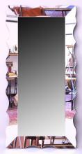 A GOOD LARGE ART DECO DESIGN MIRROR. <br>6ft x 2ft 9ins.