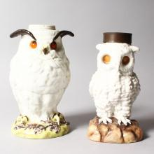 TWO CONTINENTAL WHITE PORCELAIN OWL LAMP BASES. <br>7ins and 6.5ins high.  For restoration.