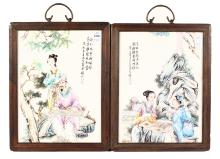 A PAIR OF CHINESE PORCELAIN PLAQUES, with figures and calligraphy in wooden frame. <br>13ins x 9.5ins.
