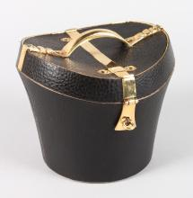 A LEATHER HAT BOX ICE BUCKET.  6ins high.