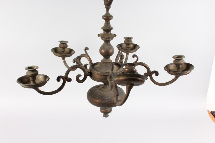 A Dutch Brass Five Light Chandelier For Cleaning And Restor