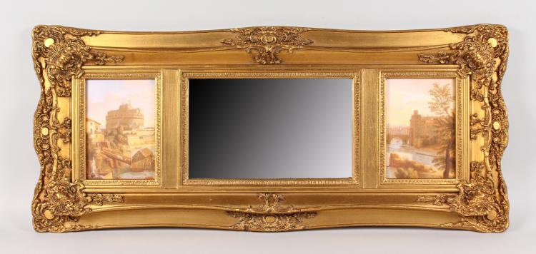 A long gilt framed overmantle mirror with bevelled mirror an for Long framed mirror