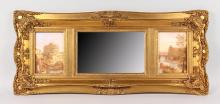 A LONG GILT FRAMED OVERMANTLE MIRROR with bevelled mirror and two Italian scenes. <br>36ins long, 16ins high.