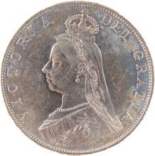 AN 1887 VICTORIA DOUBLE FLORIN - VF/EF.