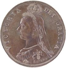 AN 1887 VICTORIA HALF CROWN - GF/EF - PROOF.
