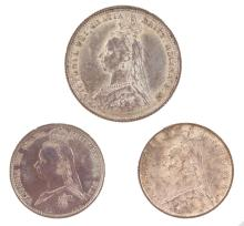 AN 1887 VICTORIA SHILLING and TWO SIXPENCES - EF/VF.