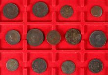 THIRTEEN VARIOUS GEORGIAN COPPER COINS.