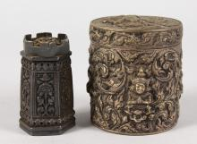 AN INDIAN SILVER CIRCULAR BOX AND COVER and A PEPPERETTE (2).