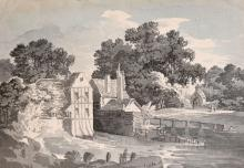 """Circle of Thomas Sunderland (1744-1823) British, A blue wash drawing of a watermill, 9"""" x 13"""", with two river"""