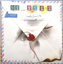 "Jaroslav Bradac (1945- ) Czechoslovakian. 'A Singed Letter', Collage, 10.25"" x 10.25""."