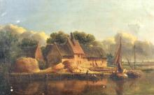 """Anthony Sandys (1806-1883) British. """"Ranworth (Norfolk)"""", Boats on a River with Haystacks in front of Cottages on the Bank, Oil on Canvas, 15"""" x 24"""". Provenance: W.Boswell and Sons, Norwich."""