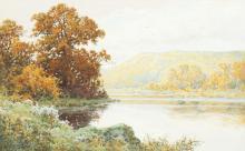 "Arthur Suker (1857-1902) British. A River Landscape with Hills beyond, Watercolour, Signed. 12"" x 19""."