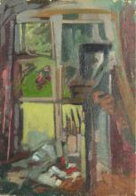 "Anthony Baynes (1921-2003). The Artist's Studio, Oil on Canvas, Unframed. 14"" x 10"". Provenance: Neil Campbell"
