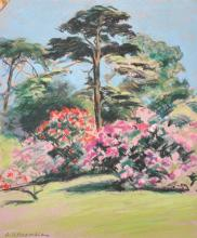 A...V...Bramble (20th Century) British. Flowering Trees and Shrubs, Pastel, Signed, Unframed, 15.5