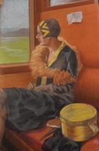 20th Century English School. Study of a Lady seated on a Train, Pastel,Unframed, 19