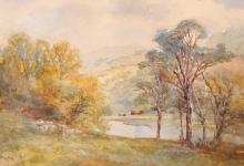 """William Widgery (1822-1893) British. A River Landscape with Sheep Grazing in the Foreground, Watercolour, Signed, 7"""" x 10"""", and the companion piece, a pair (2)."""