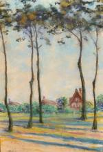 Attributed to Walter Leistikow (1865-1908) German. Tall Trees with Cottages beyond, Pastel, Signed, 21.5