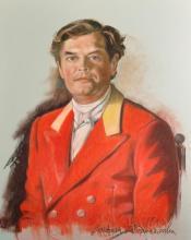 Barbara Kaczmarowska-Hamilton (1948    ) Polish. Portrait of a Man in Hunting Pink, Pastel, Signed and Dated 1990, 32.5
