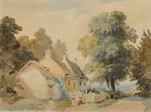 """Henry Hewitt (1818-1879) British. A Country Lane with Seated Children by a Cottage, Watercolour, Signed, 7"""" x 9.5""""."""