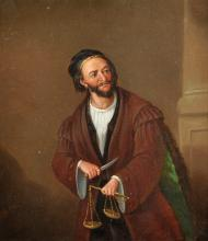 """Follower of Samuel de Wilde (1748-1832) British. """"Shylock, taken from the Merchant of Venice"""", believed to be played by the Actor, Charles Kean (1811-1868) Irish. Oil on Board, Inscribed on the reverse in Pencil, 9.25"""" x 8""""."""