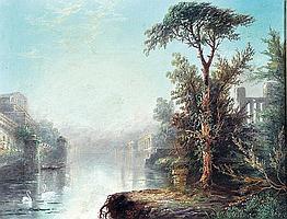 JAMES SALT (1850-1903) BRITISH - A Mediterranean Capture Scene With Swans In Foreground.